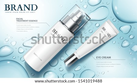 3d illustration moisture skincare product ads with watery water drops on blue background, flat lay