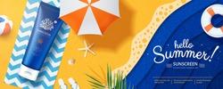 3d illustration Ocean friendly sunscreen laying on paper art beach, lovely sunblock banner ads