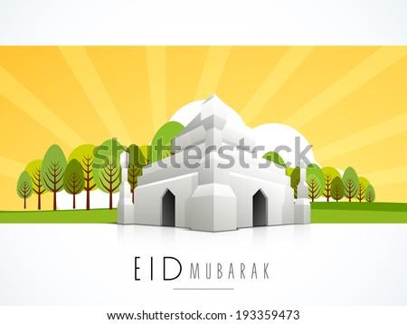 3D illustration of a mosque on beautiful nature background for celebration of Muslim community festival Eid Mubarak