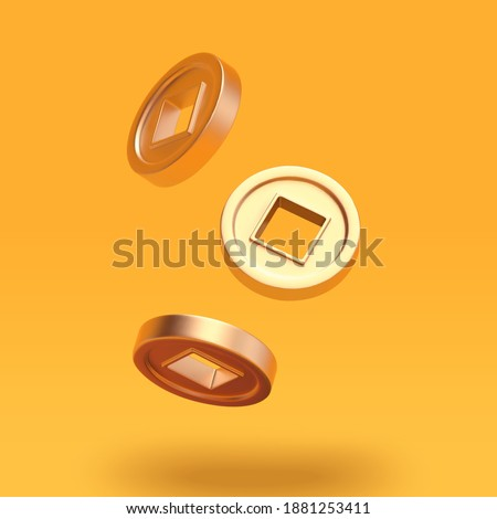 3d illustration of ancient Japanese or Chinese matt gold coins. Asian festival element set isolated on yellow background. Сток-фото ©