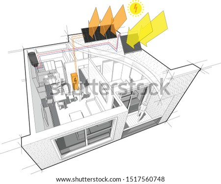 3d illustration of apartment with additional solar water heating panels and photovoltaic panels on the roof as source of electric energy