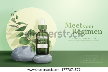 3d illustration of beauty product ad, concept of natural skin care, dropper bottle mock-up on gray stone with Eucalyptus leaves