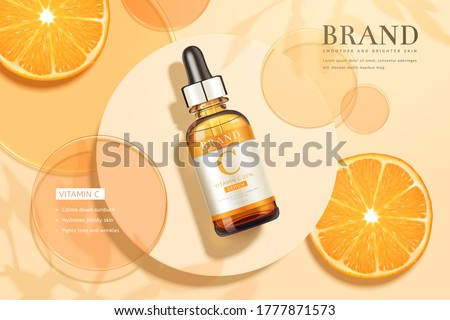 3d illustration of beauty product ad, designed with circular disks, sliced tangerine, and realistic dropper bottle, summer skincare concept