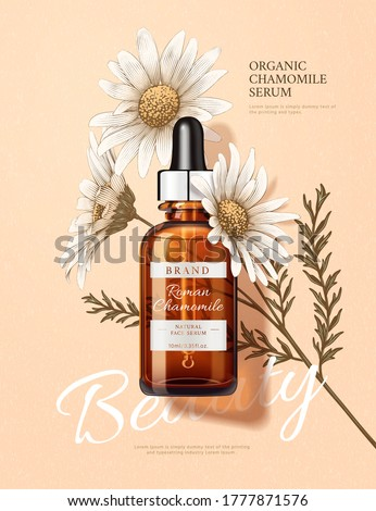 3d illustration of beauty product ad, designed with engraving chamomile and realistic dropper bottle, natural skincare concept