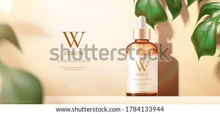 3d illustration of beauty product ad template, serum mock-up on monstera background, concept of luxury skincare