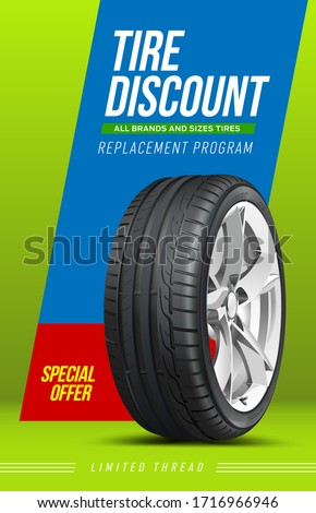 3D illustration of car tire isolated on design background. Advertising. Car wheel. Black rubber tire. Realistic vector shining disk car aluminum wheel tyre. Banner. Brochure. Web.