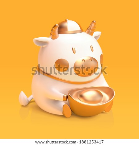 3d illustration of cute ceramic white cattle holding gold ingot. Chinese new year element isolated on yellow background.