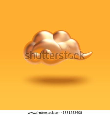 3d illustration of matt gold auspicious cloud. Asian festival element isolated on yellow background.