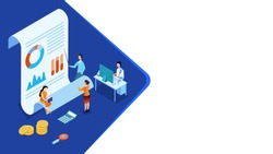 3D illustration of miniature business people maintain the data, report and coins for Data Analysis concept based isometric design.