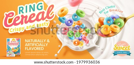 3d illustration of multicolor ring cereal falling into milk from a spoon. Ring cereal advertisement banner Сток-фото ©