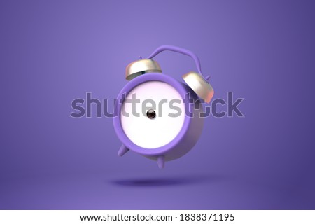 3d illustration of purple twin bell alarm clock in mid air isolated on purple background
