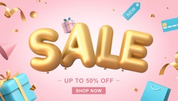 3d illustration of sale banner on pink background, sale word balloon with credit card, shopping bags, gift box, price tag and confetti elements flying around