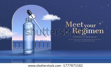 3d illustration of skincare product ad, surreal background design of night view through window with cloud flying aside