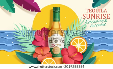 3d illustration of tequila sunrise ad. Cocktail glass bottle with tropical plants, flowers and fruit design elements around on beach background. Concept of tropical paradise.