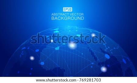 3D illustration of the virtual hologram communication system of the planet Earth/Communications digital globe world