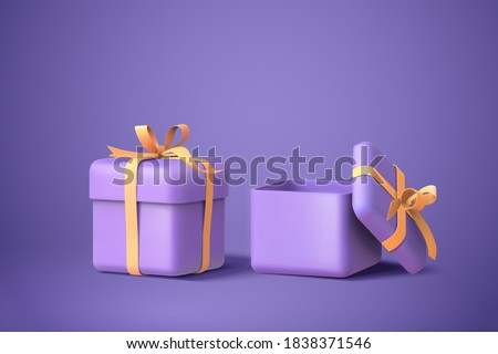 3d illustration of two purple gift boxes with bows and ribbons, isolated on purple background