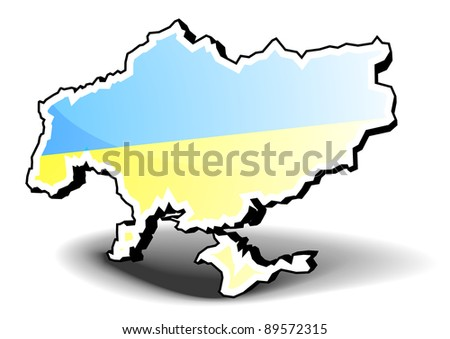 3D illustration of Ukraine with flag, eps8 vector