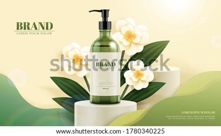 3d illustration skincare product standing on round podium with elegant white paper flowers, modern cosmetic ads