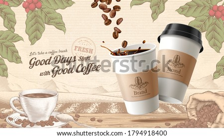 3d illustration to-go coffee ads, engraving style rustic scene background with roasted beans and cup on wooden table