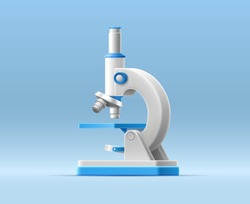 3D illustration with cartoon microscope on isolated background for medical design. Realistic vector template. Education technology concept. Vaccine discovery concept. Medical equipment for research.
