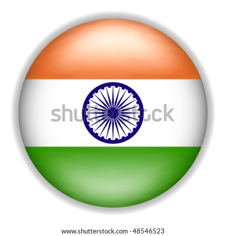 3D Indian Flag Button (Vector)