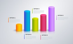 3D infographic graph with five step for Business or corporate sector.