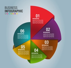 3D Infographic Template with 6 steps . Business 3D graph circle template with options for brochure, diagram, workflow, timeline, web design and marketing. Vector EPS 10