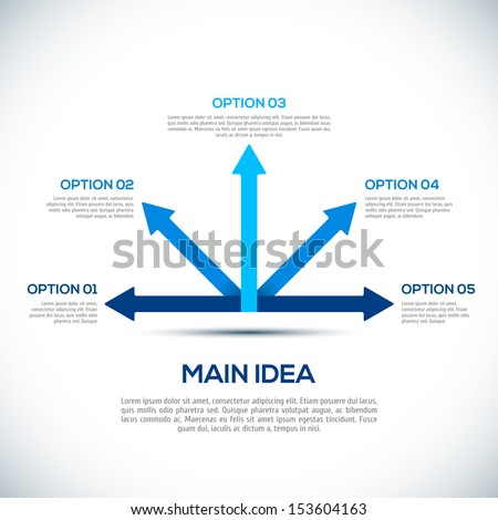 3D Infographics template with arrows. Different Way Infographics