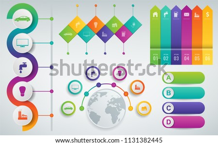 3D Infographics templates set. Business presentation concept. Vector illustration