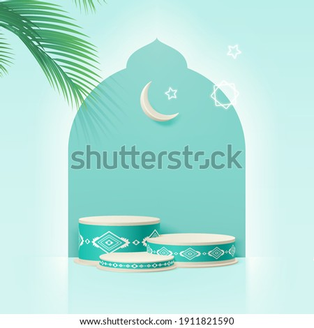 3d Islam minimal cylinder platform with dates leaf, Crescent moon, and stars. Product presentation, cosmetic, Podium, base, display, stage, pedestal or platform. 3d realistic vector