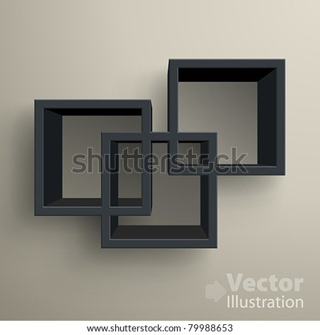 3d isolated Empty black bookshelf. Vector illustration
