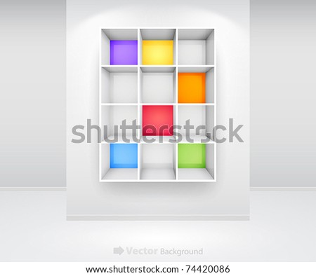 3d isolated Empty colorful bookshelf on the wall. Vector illustration