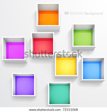 3d isolated Empty colorful bookshelf. Vector illustration. - stock vector