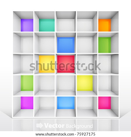 3d isolated Empty colorful bookshelf. Vector illustration