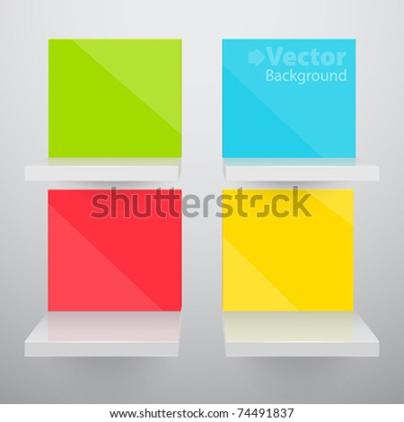 3d isolated Empty colorful shelves for exhibit. Vector illustration.