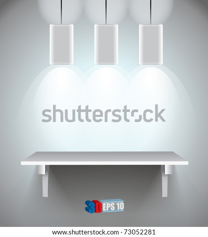 3d isolated Empty shelf - stock vector
