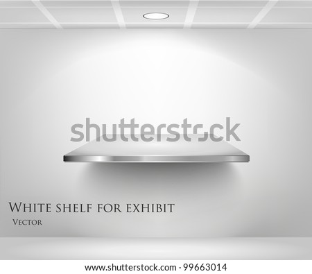3d isolated Empty shelf for exhibit - stock vector