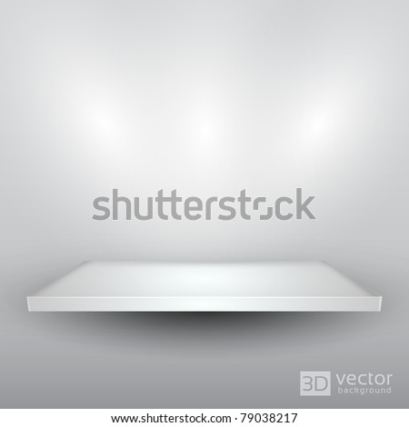 3D Isolated Empty Shelf for Exhibit - EPS10 Vector illustration