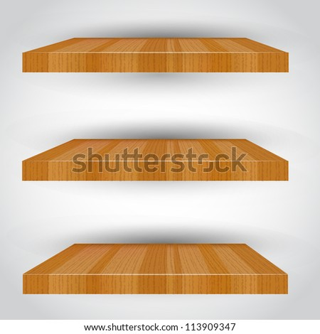 3d isolated Empty shelf for exhibit. Vector illustration. - stock vector