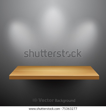 3d isolated Empty shelf for exhibit. Vector illustration.