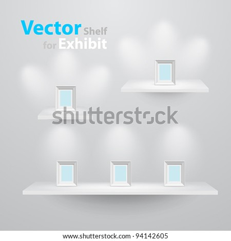 3d isolated Empty shelves for exhibit (3 sizes). Vector illustration.