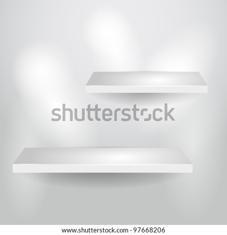 3d isolated Empty shelves for exhibit. Vector illustration.