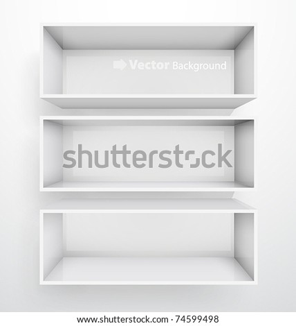 3d isolated Empty white bookshelf. Vector illustration - stock vector