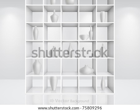 3d isolated Empty white bookshelf. Vector illustration