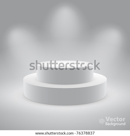 3d isolated Empty white podium on gray background. Vector illustration. - stock vector