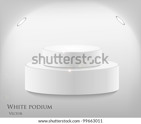 3d isolated Empty white podium on gray background. Vector illustration
