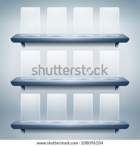 3d isolated shelf for exhibit with empty glass buttons