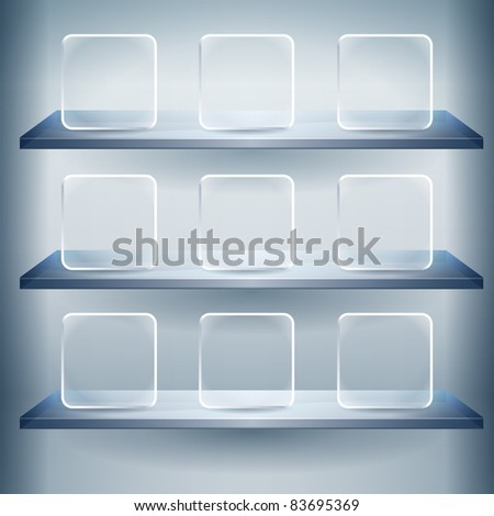 3d isolated shelf for exhibit with Empty glass buttons.