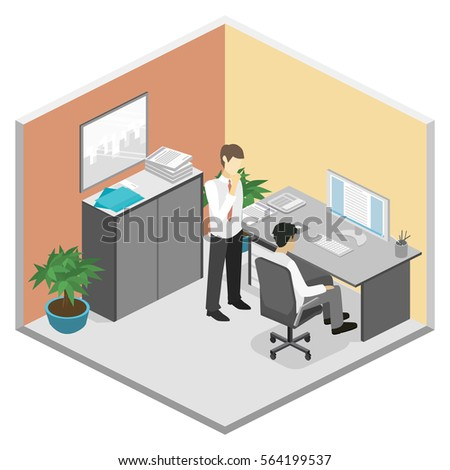 3d isometric abstract office