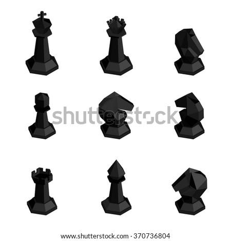 3d isometric black  chess